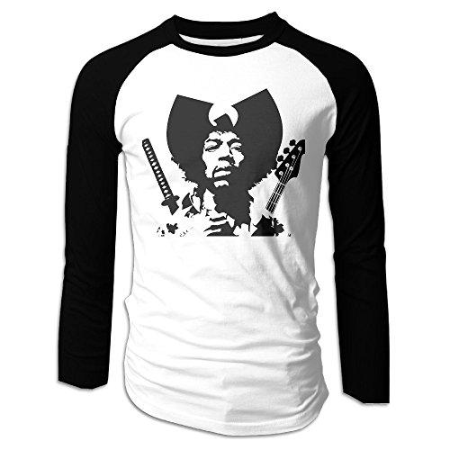 [Creamfly Mens Jimi Hendrix Gun Long Sleeve Raglan Baseball Tshirt XXL] (Costumes Starting With L)