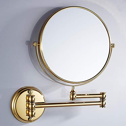 VELIMAX 8-Inch Solid Brass Bathroom Vanity Mirror Wall Mounted Folding Makeup Double -