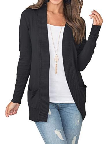 MIHOLL Women's Long Sleeve Pockets Knit Solid Open Front Car