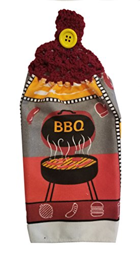 Handcrafted Burgundy Crochet Topped Barbecue Kitchen Towel