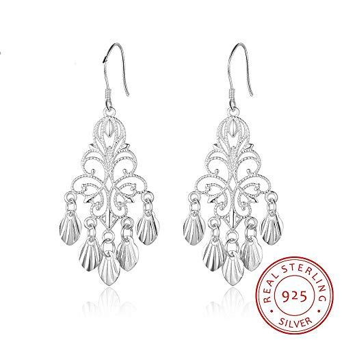 - LEIANDYAN 925 Silver Fancy Chandelier Earrings for Women Hollow Dangle Drop Earrings Wedding Statement Earrings