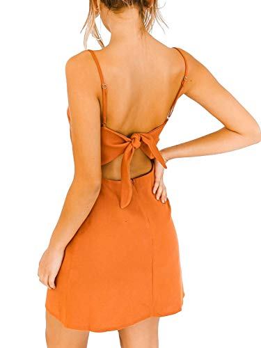 (BerryGo Women's Sexy Cut Out Back Bow Spaghetti Strap Bodycon Mini Dress Orange)