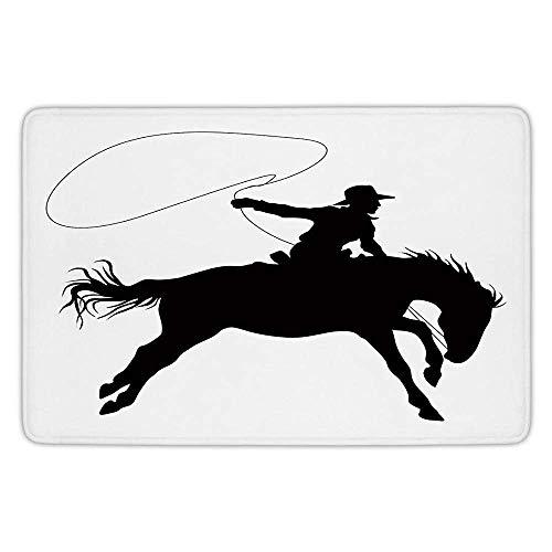 Cowboy Nap Mat - Usicapwear Durability Doormat Bathroom Bath Rug Kitchen Floor Mat Carpet,Cartoon,Silhouette of Cowboy Riding Horse Rider Rope Sport Country Western Style Art,Black and W 23.6 X 15.7 Inch