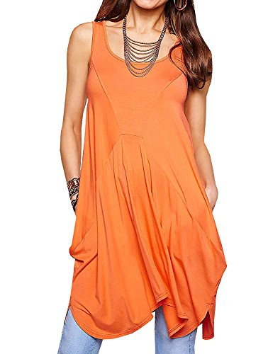 Womens Orange Tank Dress (Fashare Womens Sundresses Boho Harem Loose Dresses With Pockets High Waist Tank Party Dress)