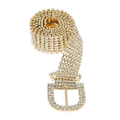 (SP Sophia Collection Glitterati 7 Row Chic Women's Fashion Crystal Rhinestone Buckle Chain Belt in Gold)