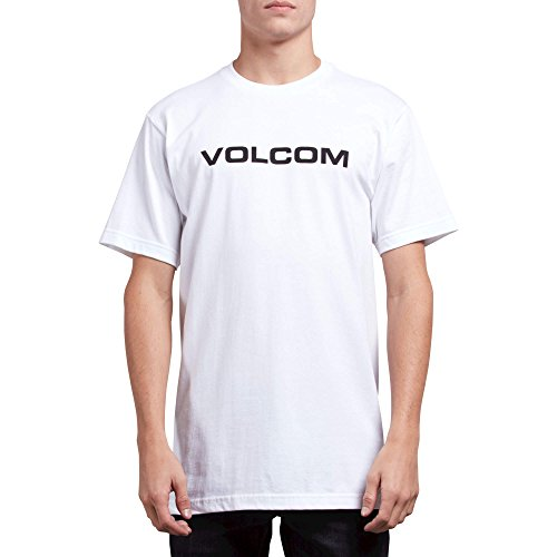 Volcom Men's Crisp Euro Short Sleeve Basic Fit Tee, White, Small