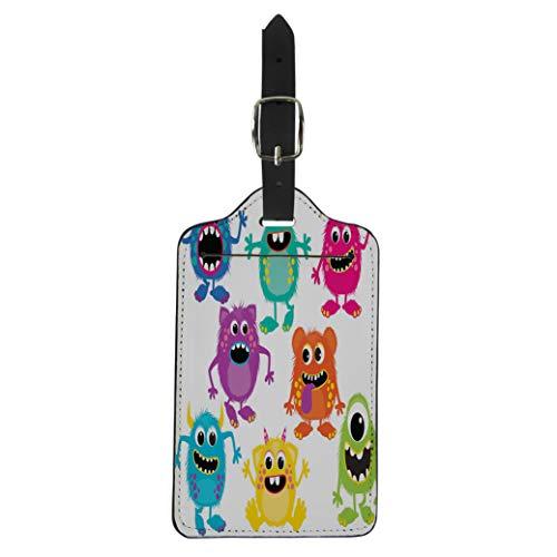 Pinbeam Luggage Tag Cartoon Fluffy Monsters Cute Little Kid Alien Birthday Suitcase Baggage Label