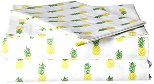 Poppy & Fritz Pineapples Cotton Sheet Set, Twin X-Large, Yellow/Green ()