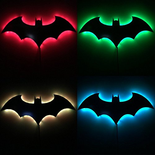 Halloween Bat LED Wall Light 3D Mirror Lamp Remote Control Projection Night Light,Seven Color Change Boys Love-For Party,Bedroom Décor