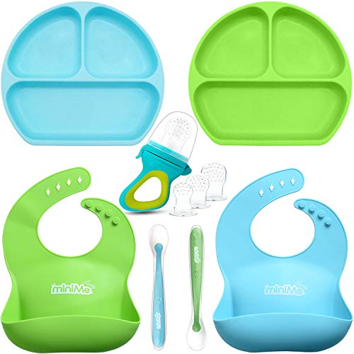 Lovely Minime Baby Feeding Set, Suction Plates for Toddlers, Fits Most HighChair Trays,Waterproof Adjustable Silicone Bib,Food Pacifier Feeder,Soft Tip Spoon,BPA Free Dishwasher/Microwave Safe from Lovely miniMe