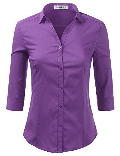 Foryous Women Button Down Shirt 3/4 Sleeve Blouses Slim Fit Plus Size
