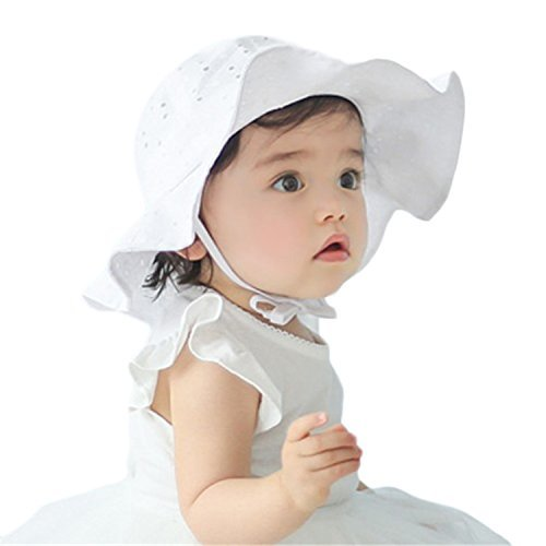 Baby Girl Toddler Kids Sun Hat Summer Outdoor Sun Protection Hat 1-4 Years (White)