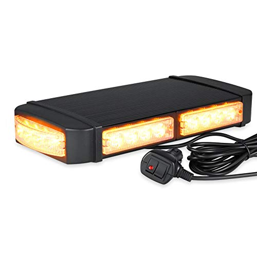 AT-HAIHAN Amber Mini Light Bar Rooftop Emergency Hazard Warning Strobe Light w/Dual Strong Magnetic Base, 24W LED, IP65 Waterproof for Snow Plow, Trucks or Construction Vehicles