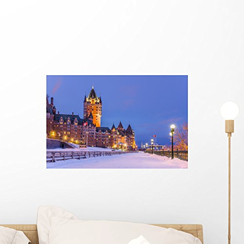 (Wallmonkeys Chateau Frontenac at Night Wall Decal Peel and Stick Graphic WM177636 (18 in W x 12 in H))