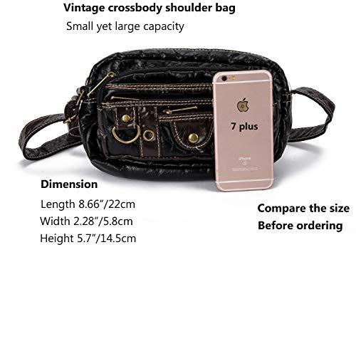 Ranboo Small Shoulder Satchel Bag Vintag Crossbody Purse Travel Bags Casual Messenger Bag Men Purse Handbag Tote Satchel Multi-Pocket Wallet Pack Zipper Hiking Outdoor Sports Faux Leather Black by Ranboo (Image #7)