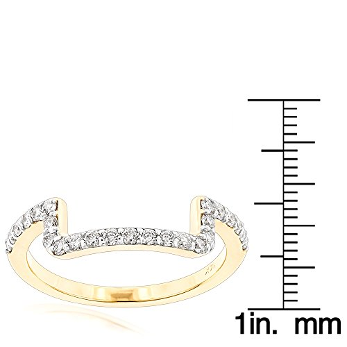 Luxurman 14K Engagement Ring Matching Diamond Wedding Band (Yellow Gold Size 9)