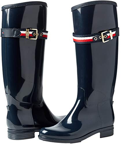 Bleu Boot Rain Femme Belt Tommy 403 Hautes Long midnight Hilfiger Bottes Corporate 4fXTpqzT6