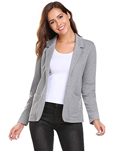 Bifast Women's Solid Stretch 3/4 Long Sleeve Thin Open Blazer Jacket