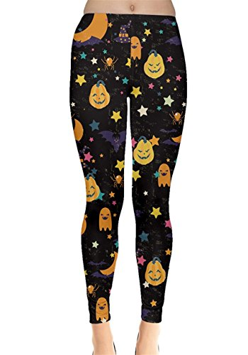 CowCow Womens Happy Halloween Leggings, Happy Halloween - XL