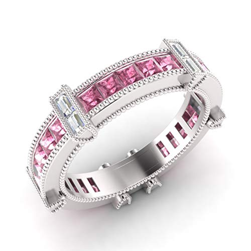 (Diamondere Natural and Certified Princess Cut Pink Sapphire and Baguette Cut Diamond Eternity Wedding Band Ring in 14k White Gold | 2.56 Carat Ring for Women, US Size 6)
