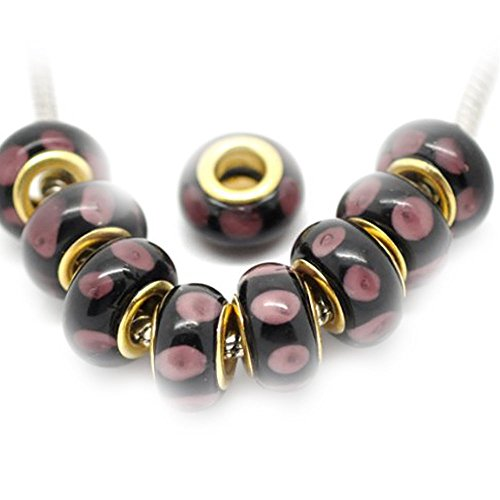Sexy paillettes femmes de 10W Noir/Violet Pois lampwork Murano beadsbracelet