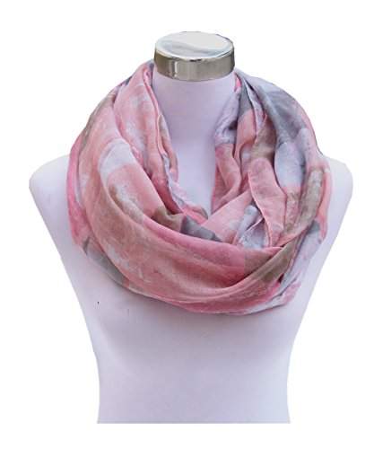 Lucky Leaf Women Lightweight Cozy Infinity Loop Scarf with Various Artist Print (Pink Plaid)