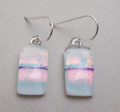 White Peach Pink Fused Dichroic glass dangle drop earrings .925 Solid Sterling silver ear wires #345 ()