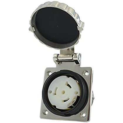 Image of Boat Trailer Accessories Conntek 50 Amp Outlet 80722-SS 50 Amp 125/250V Detachable Outlet, Stainless Steel Cover
