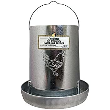 Harris Farms Galvanized Hanging Poultry Feeder, 30 Pounds