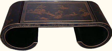 Oriental Coffee Table in Antique Black with scroll legs and a glass top - This hand painted Japanese landscape table is constructed by hand and made of solid wood - 48