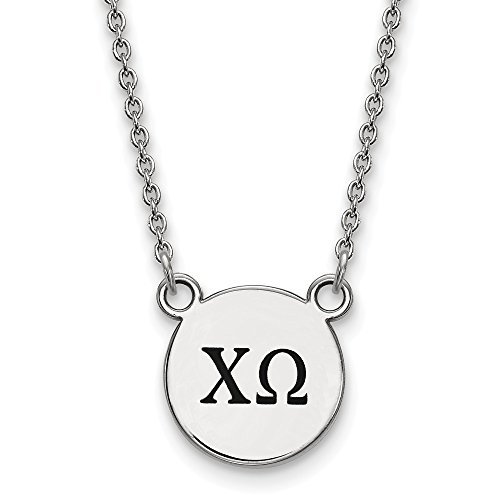 Solid 925 Sterling Silver Chi Omega Extra Small Enl Pendant with Necklace (12mm)