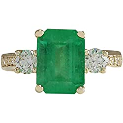 4.70 Carat Natural Green Emerald And Diamond Ring 14K Solid Yellow Gold