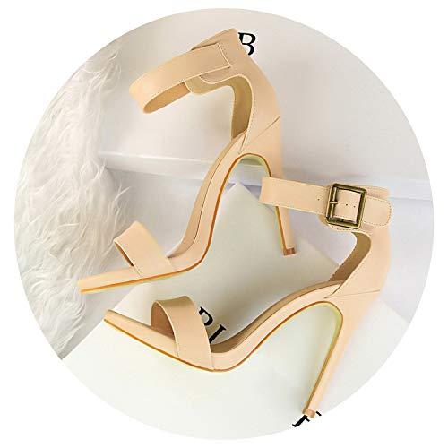 Women Classic 11cm High Heels Fetish Soft Leather Sandals Female Gladiator Summer Shoes,Khaki,8.5