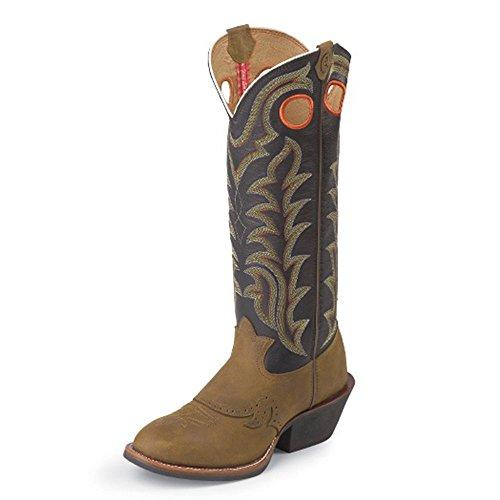 Tony Lama Mens Quanah Navy 16 Altezza (rr1002) | Cavallo Pazzo Fante Del Piede | Stivali Western Pullon | Stivale Marrone In Pelle Da Cowboy | Fabbricato Negli Usa