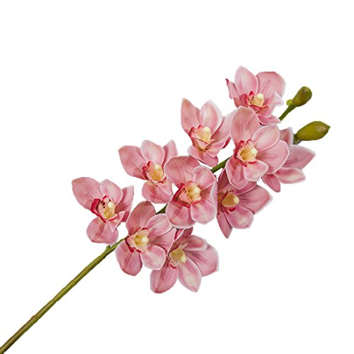 Calcifer 6 Stems (10 Flower Heads/Stem) Artificial Silk Cymbidium Orchid Bouquets Artificial Flowers for Hotel Home Party Wedding Decoration (Pink)