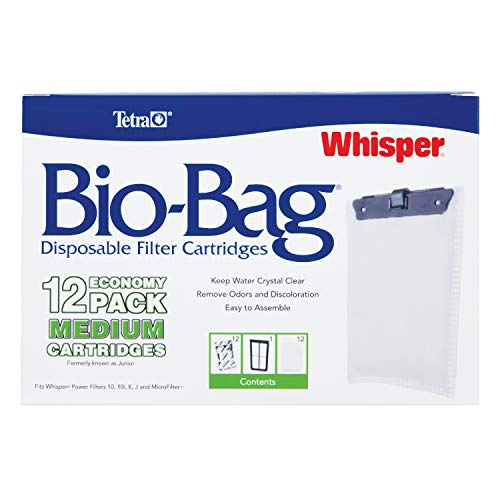 Tetra 26160 Whisper Bio-Bag Cartridge, Unassembled, Medium, 12-Pack (Tetra Whisper Power Filter 5 10 Gallon)