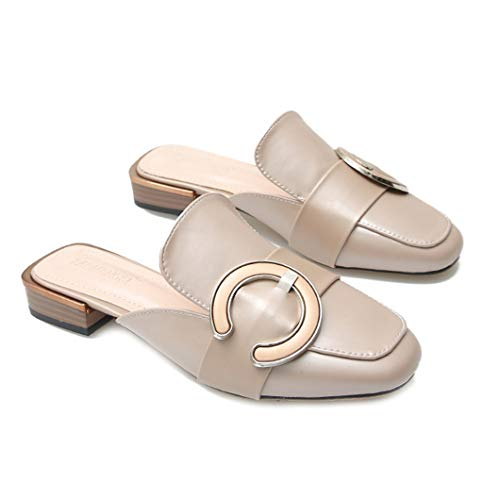 VOWAN Womens Leather Pointed Closed Toe Sandal Metal Belt Buckle Casual Low Heeled Slippers Outdoor Shoes Beige