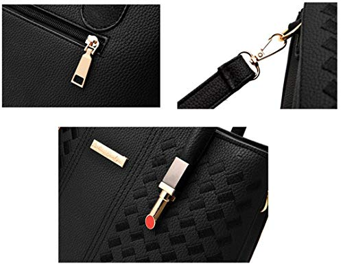 Woven Shoulder 8 Black Pendant Handbag Bag Pu with White Color Ladies CxCtZ16qU