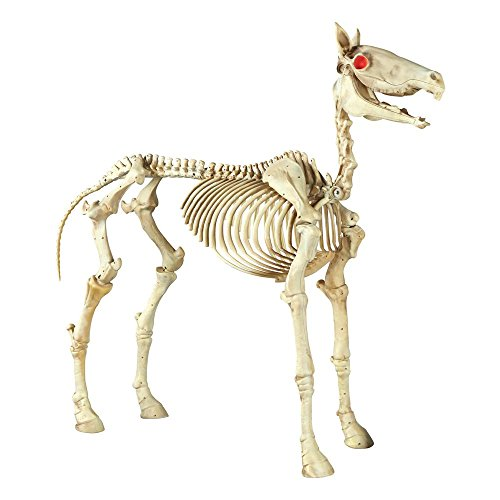 Halloween Standing Skeleton Horse Glowing Eyes and Horse Sounds 74 inches