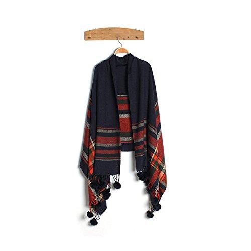 Bufanda Mujer Cálido Mantón De La Bufanda De La Tela Escocesa darkblue