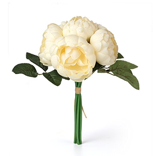 (Easin Artificial Peony Silk Flowers Bouquet Home Wedding Decoration (Pale Yellow))