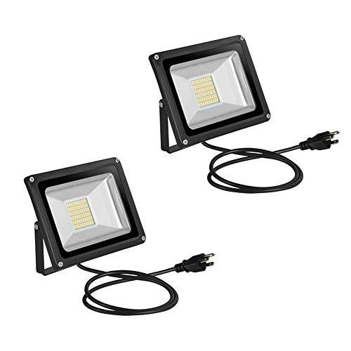 Festnight 2 Pack 30W LED Flood Light IP65 Waterproof Outdoor Super Bright Security Lights Work Daylight with US Plug Warm White Landscape Wall Lights for Garden Garage Lawn Yard Party 110V