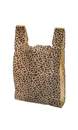 """100 Leopard Print Plastic T-Shirt Bags 11 ½"""" x 6'' x 21''"""