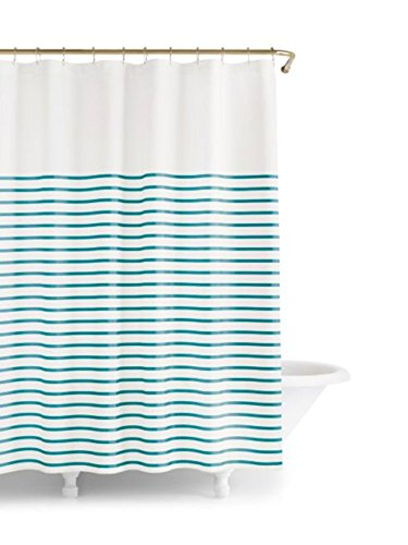 New York Harbour Stripe Shower Curtain (White/Turquoise, 72Wx72L) (Kate Spade Curtain)