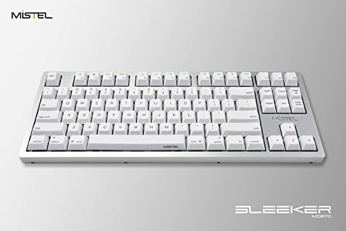 Mistel Sleeker MD870 Mechanical Keyboard with Chrerry MX Blue Switch and Silver Full CNC Aluminum Case for Mac and Windows (Tenkeyless, Single White LED Backlit, PBT Dye-Sub Keycap, ANSI/US Layout)