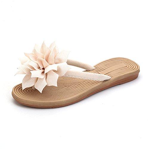 NACOLA Ladies Flip Flops,Summer Fashion Beach Slippers for Women Beige
