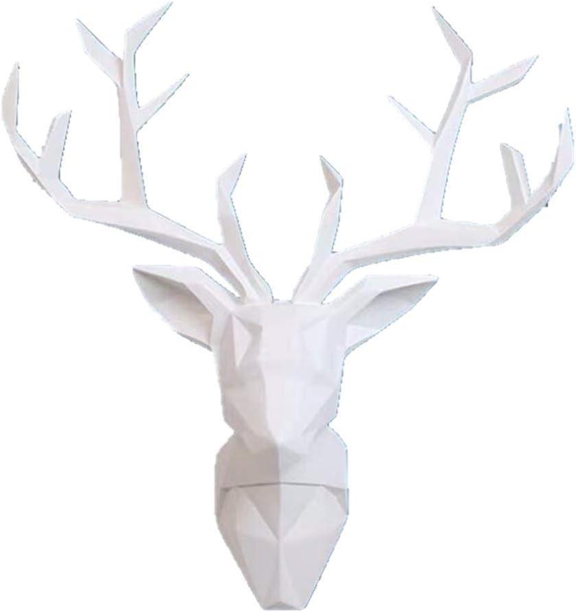 Deer Head Wall Art - Geometrial Deer Head Sculpture Home Decor (White, XL)