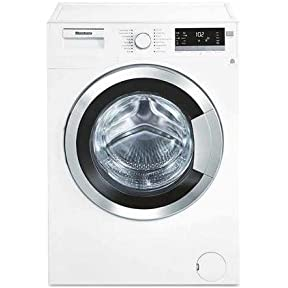 Blomberg WM98400SX 24' 2.5 cu. ft. Capacity Front Load Washer With Stainless Steel Drum LED Digital Display Variable Spin Speed From 600 To 1400 RPM In White with Chrome