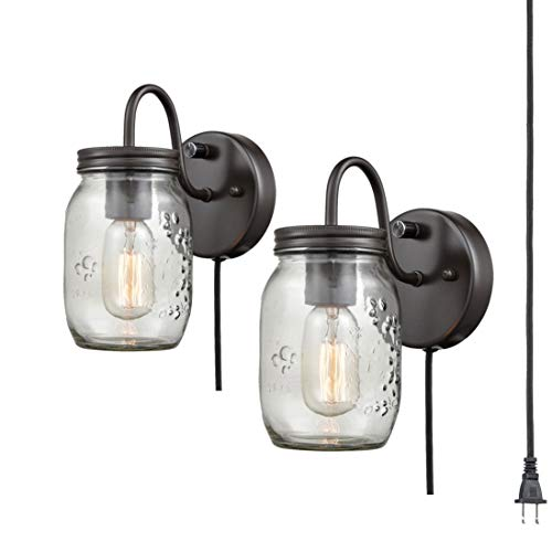 EUL Vintage Mason Jar Light Fixture Clear Glass 2-Pack Wall Sconces Oil Rubbed Bronze, Plug-in
