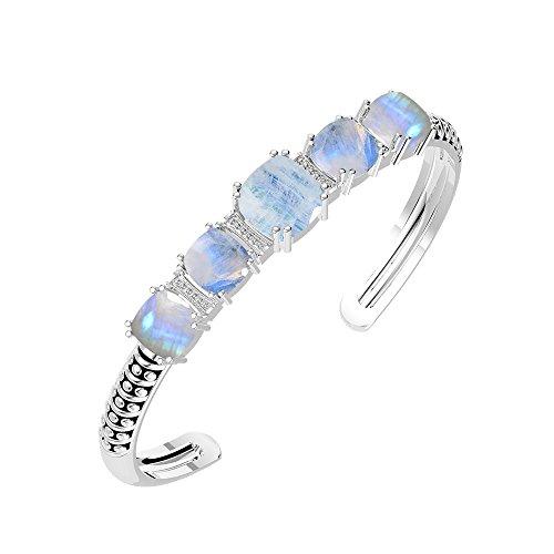 18.15ct,Genuine Rainbow Moonstone & 925 Silver Plated Bangle (Cuff Moonstone Bracelet)